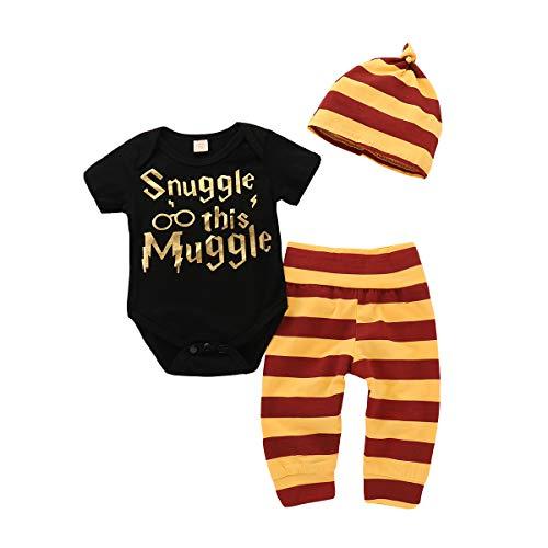 Baby Mädchen Junge 3Pcs Kleidung SetKurzschluss Hülsen T-Shirt und Lange Hosen mit Hut Snuggle This Muggle Romper (Schwarz mit Hut, 80(6-9M))