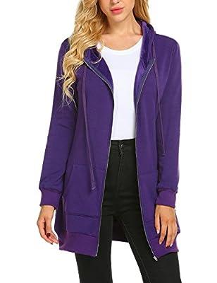 Zeagoo Women's Lightweight Hoodies Zip up Active Sweatshirt Long Hoodie Outerwear Jacket,Purple,XXL