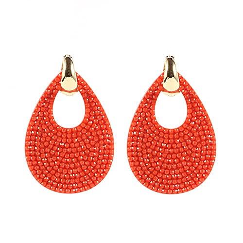 QWKLNRA Mujer Pendientes Pendientes De Color Rojo Coral Gran Gota De Agua Pendientes Exquisitos Clásicos para Mujer Pendientes De Cobre con Resina Pendientes De Declaración