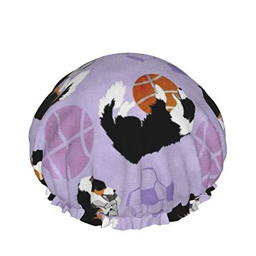 Doublelayer - Gorro de ducha impermeable para mujer, reutilizable, lavable, pelo largo (collies y pelotas deportivas), color morado
