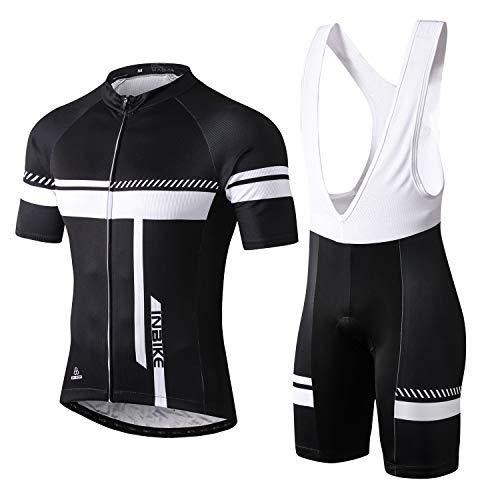 INBIKE Fahrradtrikot Herren Kurzarm Damen Fahrradbekleidung Männer Set Kurz Fahrrad Trikot und Brace Radlerhose mit Sitzpolster(Weiß, L)