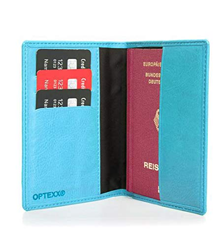 OPTEXX® Billetera RFID para pasaporte Mika Sky Blue de piel vegi con certificación TÜV