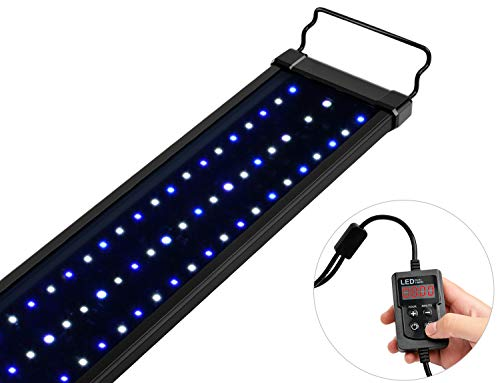 NICREW Saltwater Aquarium Light, Marine LED Fish Tank Light for Coral Reef Tanks, 2-Channel Timer Included, 30 to 36-Inch, 32-Watt