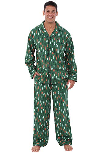 Alexander Del Rossa Men's Lightweight Button Down Pajama Set, Long Cotton Pjs, Small Beer Mugs and Bottles on Green (A0714V64SM)