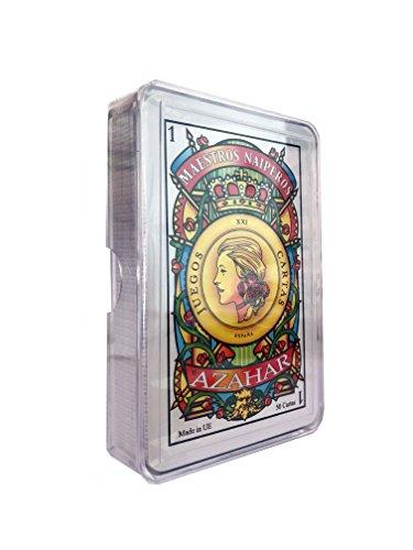 Maestros Naiperos- baraja, española, 50, cartas, estuche de plástico, calidad casino, Color azul o rojo. envío aleatorio (130003068)