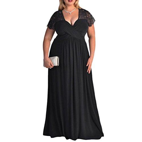 Amphia Damen V-Ausschnitt Halbarm Lange Abendkleid Übergröße Spitze Brautjungfer Hochzeitskleid (Schwarz, XXL)