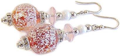 VENEZIA CLASSICA - Pendientes de mujer con perlas de cristal de Murano originales, colección Diana, con hoja de plata, fabricados en Italia con certificado Rosa