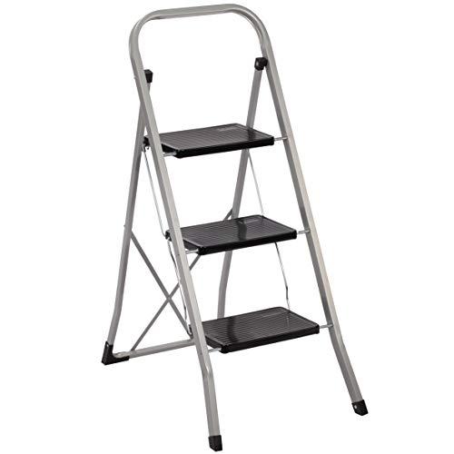 Trittleiter 3 Stufen Leiter Klapptritt Klappleiter Klapptreppe Tritt Haushaltstritt Stehleiter Sprossenleiter klappbar faltbar bis 150 kg (3 Stufen, silber)