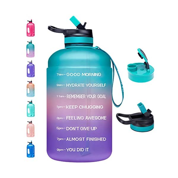 Venture Pal Large 1 Gallon Motivational Water Bottle with 2 Lids (Chug and Straw),...