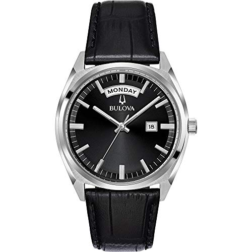 Bulova Herren Analog Quarz Uhr mit Leder Armband 96C128