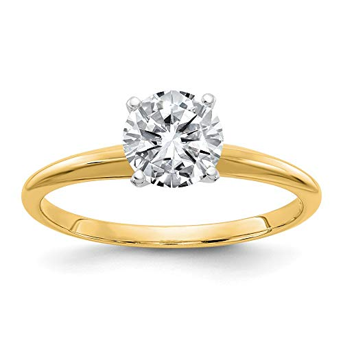 14k Yellow Gold 2.0ct. 8mm Moissanite Solitaire Band Ring Size 7.00 Engagement Gsh Gshx Fine Jewellery For Women Gifts For Her
