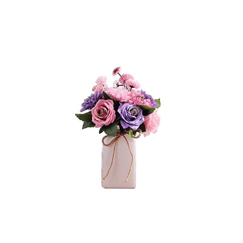 silk flower arrangements bringsine bridal wedding bouquet flower arrangement home decorative artificial silk- rose, daisy, dahlia, decoration, bunch hotel party garden floral- purple