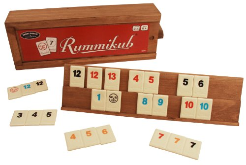 Front Porch Classics Rummikub Rummy Tile Board Game with Durable Wooden Rack and Case for Travel 106 Tiles