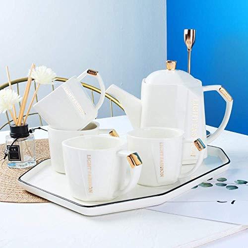 GAXQFEI Porzellanteekanne und Tee- / Kaffeetassen, einfache keramische quadratische Wasserware - 240-ml-Tassen und 980-ml-Kanne mit Palette für Nachmittagstee-Partyservice für 4 Personen, weiß,Weiß