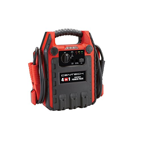 4-in-1 Jump Starter with 260 PSI Air Compressor; 12VDC outlet; Built-in Work Light