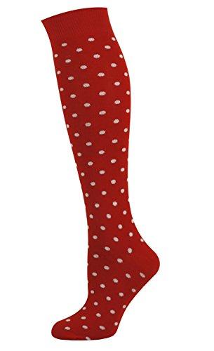 Mysocks Unisex Kniehohe Lange Socken Tupfen-Entwurf rot