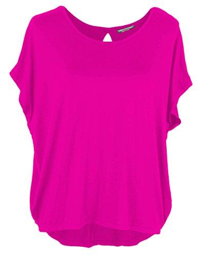 Emma & Giovanni Damen Basic Sommer T-Shirt/Oberteile Kurzarm, Fuchsie, Gr.- DE 44-46 (Herstelleretikett XL)