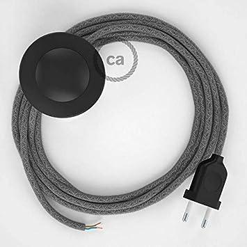c/âble RN02 Lin Naturel Gris 3 m Noir Choisissez la Couleur de la fiche et de linterrupteur! Cordon pour lampadaire