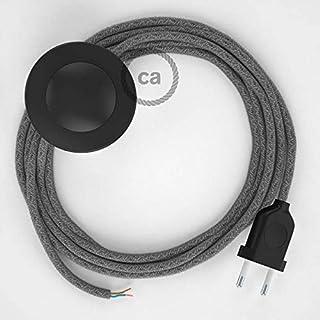 Cordon pour lampadaire, câble RN02 Lin Naturel Gris 3 m. Choisissez la Couleur de la fiche et de l'interrupteur! - NOI
