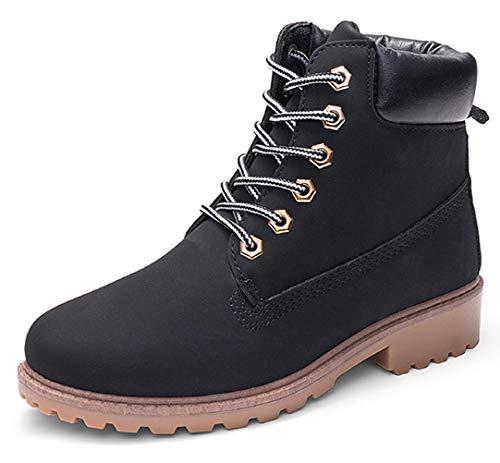 DADAWEN Women's Lace Up Low Heel Work Combat Boots Waterproof Ankle Bootie Black US Size 7