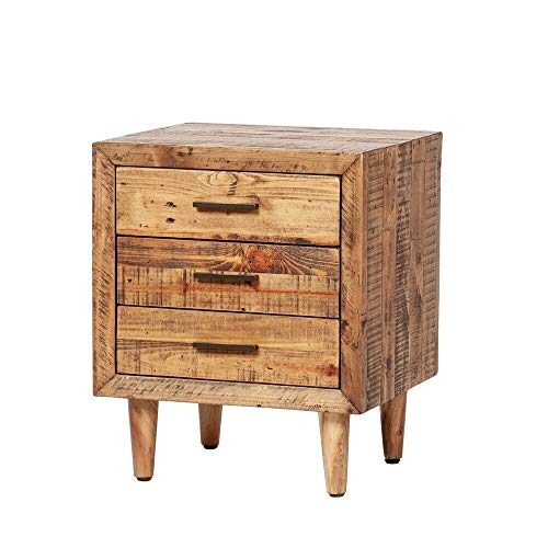 Big Save! Reclaimed Pine Three Drawer Nightstand - Assembled Brown Farmhouse Mid-Century Modern Anti...