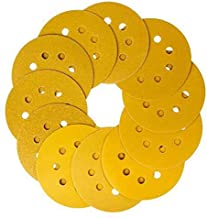 5 inch 8 hole shackle super wear-resistant yellow sanding disc, 60/80/120/150/240/320/800Assorted Grits Sandpaper - Pack of 70