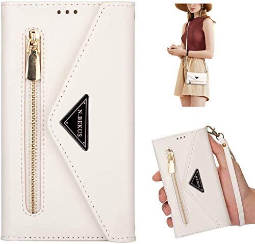 Uposao Kompatibel mit Huawei P20 Lite Handykette Hülle Wallet Leder Hülle Klapphülle Brieftasche Schutzhülle Geldbörse Flip Case Kartenfach Reißverschluss für Mädchen Frauen,Weiß