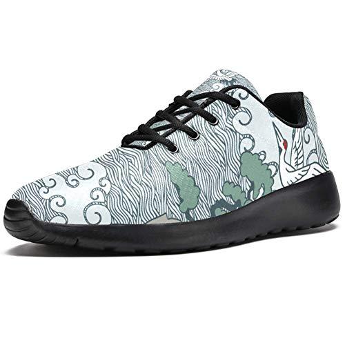 Tizorax Laufschuhe für Herren, flying Crane und Pinie, modische Sneakers, Netzstoff, atmungsaktiv, Wandern, Tennis, Größe 4,5, Mehrfarbig - mehrfarbig - Größe: 47 EU
