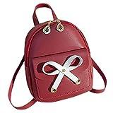 バックパックスクールバッグ  女性ボウ小型リュック・カレッジガールズ財布携帯電話レザー防水肩トラベルアウトドアバックパック、赤