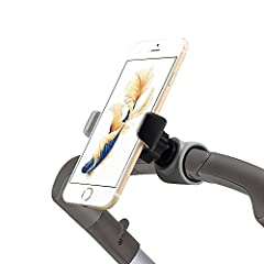 """Multiple Mount Locations - Works great with strollers and baby joggers. Also works well with car air vents, bikes, shopping carts, desks, and more. Compatibility - Anti-slip arm clamp stretches 1.97"""" to 3.35"""" and can fit most smartphones including iP..."""
