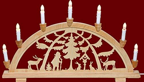 Arco luminoso stile Yanka Leuchter Monti Metalliferi foresta motivo tradizionale motivo a 7luci di Natale dell' Avvento regalo decorazione (83122)