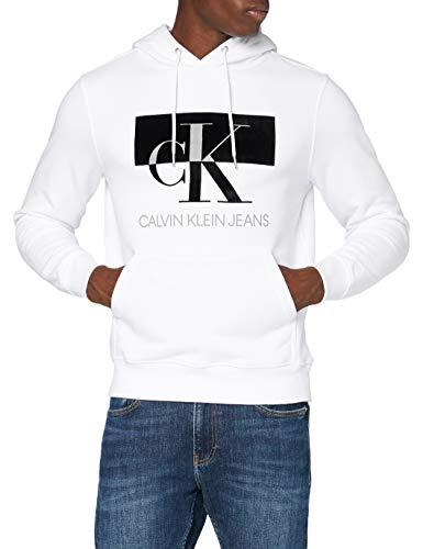 Calvin Klein Jeans Herren Big Ck Flock Hoodie Pullover, White, L