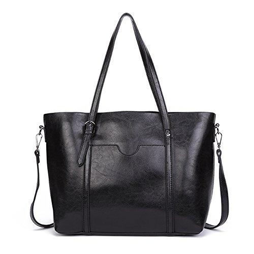 Dreubea Women's Soft Leather Handbag Big Capacity Tote Shoulder Crossbody Bag Upgraded Black