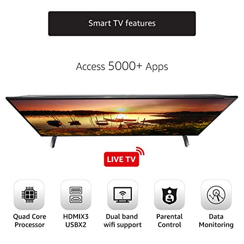 AmazonBasics 139cm (55 inches) Fire TV Edition 4K Ultra HD Smart LED TV AB55U20PS (Black)