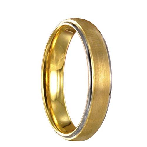 Wolfram Tungsten bicolor silber/gold Trauring Partnerring mit Innengravur 14020 Gr 60