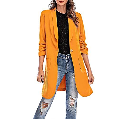 Qinbiom Chaquetas casuales de manga larga para trabajo de oficina de un solo botón solapa Blazers transpirable traje chaqueta con bolsillo, amarillo, XXL