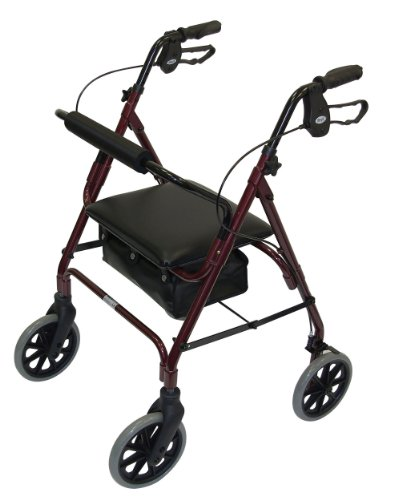 Days Lightweight Folding Four Wheel Rollator Walker with Padded Seat, Lockable Brakes, Ergonomic Handles, and Carry Bag, Limited Mobility Aid, Ruby Red, Medium, (Eligible for VAT relief in the UK)