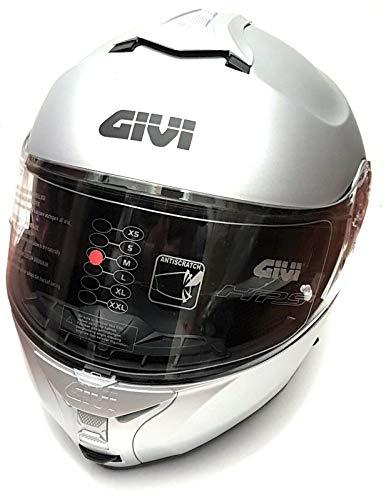 GIVI X21 Modularer Motorradhelm mit doppeltem Visier, silbermatt, Größe XL