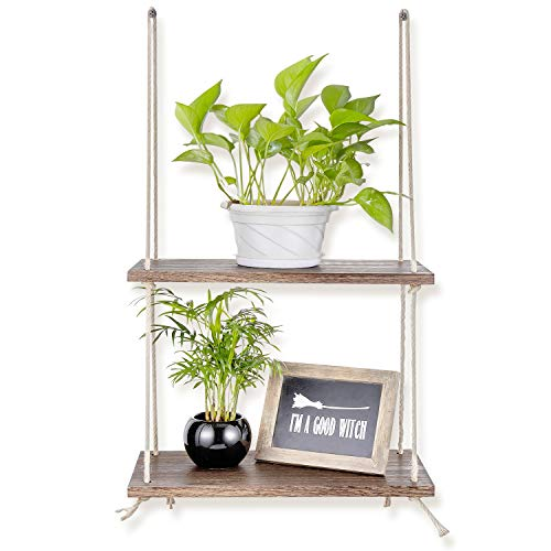 Sageme Wall Hanging Shelves,2 Tier Swing Rope Floating Shelf for Plants Decorations Display Rustic Farmhouse Shelves for Garden, Outdoor, Living Room and Bedroom (2 Tier, Rustic Wood)