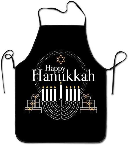 THESHUAI KunYi Women Bib Kitchen Apron Polyester Art Printing Hanukkah Festival of Lights Merry Xmas Cute