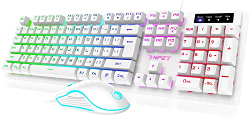 NPET S20 Wired Gaming Keyboard Mouse Combo, LED Backlit Quiet Ergonomic Mechanical Feeling Keyboard, Backlit Gaming Mouse 6400 DPI, for Desktop, Computer, PC, White