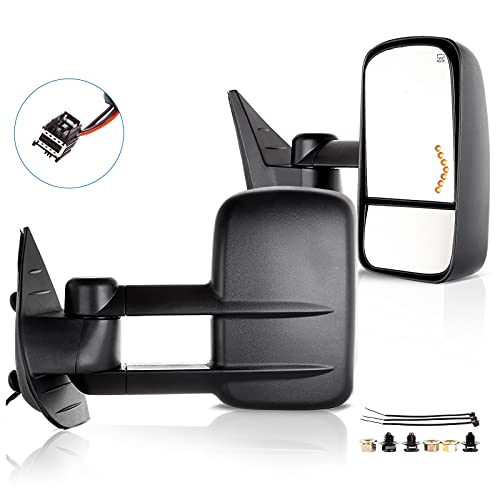 ECCPP Towing Mirrors Replacement fit for 2008-2013 for Chevy Avalanche Tahoe Silverado Suburban GMC Sierra 1500 Yukon Power Heated Arrow Signal Towing Mirrors