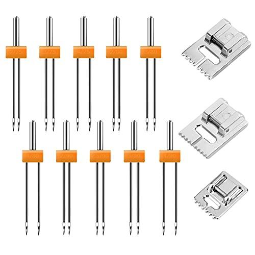 ALEX 10 Piezas Aguja Doble Maquina Coser con 3 piezas de prensatelas Pintuck (10 tamaños)