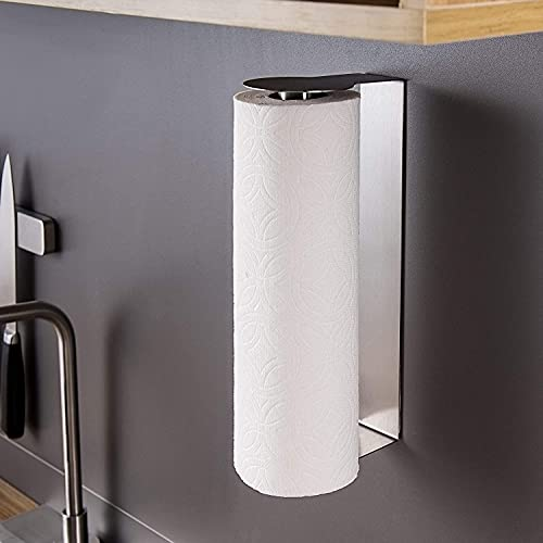 YIGII Paper Towel Holder Wall Mount - Adhesive Paper Towel Rack Under Cabinet Kitchen Paper Roll Holder Stick on Wall Stainless Steel