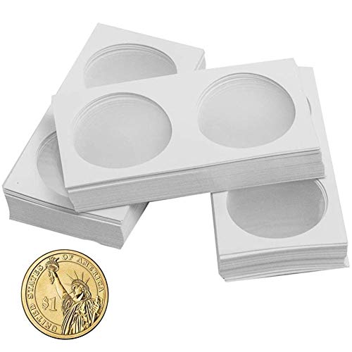 Coin Flips for Large Dollar,Sterling - 90 Pcs 40.0mm / 1.6 inch Cardboard Holder for Large Dollars, 5 UK Pound, 1 CA Dollar CS31400