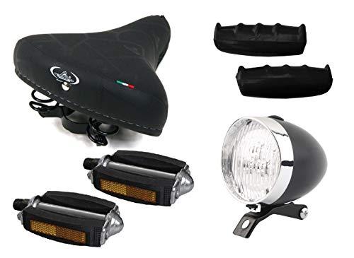 Sella MONTEGRAPPA con Molle + Pedali + Manopole + Fanale NERO Bici bicicletta Colore Nero per biciclette Graziella - Biciclette d'epoca - Tipo 'R' o 'Viaggio' - Biciclette Olanda
