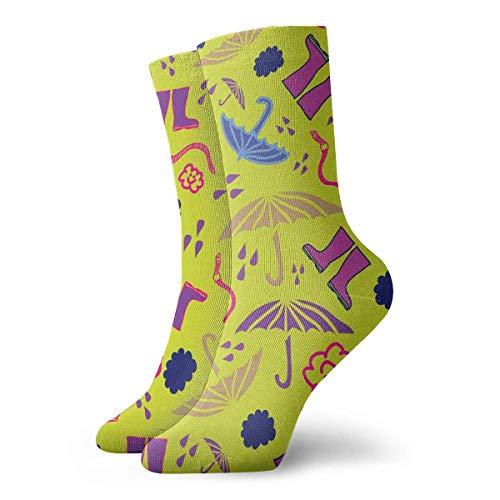 Tammy Jear Hombres/mujeres/estudiantes, calcetines casuales y acogedores, paraguas con lluvia amarilla y paraguas, movimiento/dar un paseo/turismo/moda, poliéster