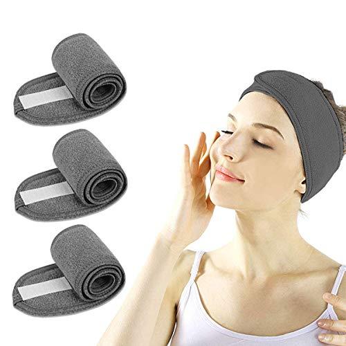 Haarband für Make Up - 3 Stück Spa Stirnband mit Klettverschluss Kosmetik Stirnband Frottee Verstellbare Haarschutzband für Sport Yoga (Grau)