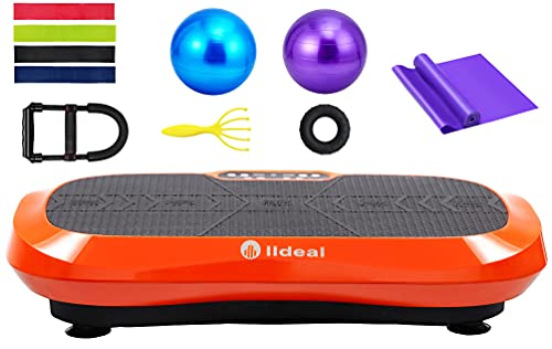 lldeal Ultra Thin Third Generation Vibration Plate Exercise Machine -(Tensile Device, w/Loop Band, Two Yoga Ball, Muscle Massager) Vibrate Platform Equipment for Weight Loss &Fitness (Black&Orange)