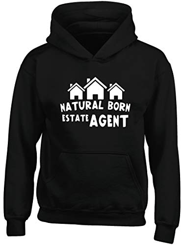 Hippowarehouse Natural Born Estate Agent Kids Children's Unisex Hoodie Hooded top Black